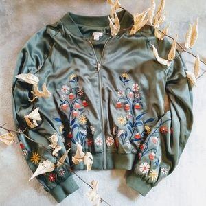 Xhilaration Embroidered Bomber Jacket